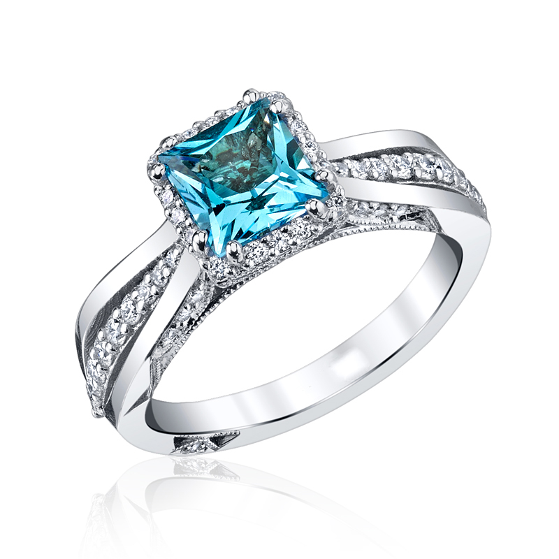 "Image of ""Tacori 18K White Gold Blue Topaz & Diamond Ring Size 6"""