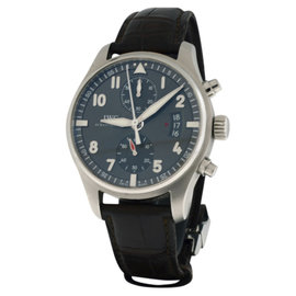 IWC Pilot's Spitfire Chronograph Stainless Steel Gray Dial Automatic 43mm Mens Watch