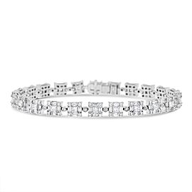 18K White Gold 6.45ct Diamond Square Link Design Bracelet