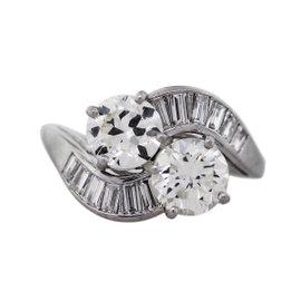 Platinum European Cut Diamond Engagement Ring Size 9