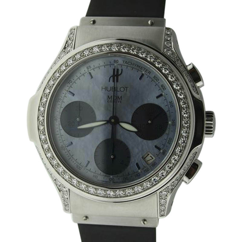 "Image of ""Hublot Chronograph Stainless Steel Diamond Watch"""