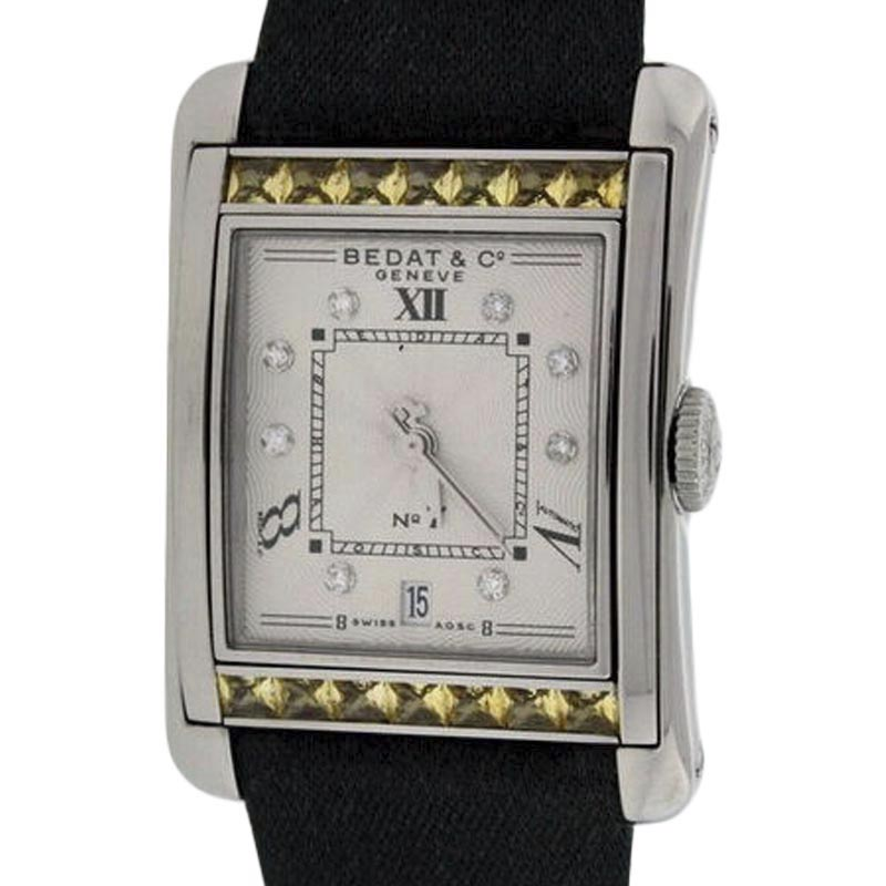 """Image of """"Bedat No.7 Stainless Steel & Yellow Sapphires & Diamonds Womens Watch"""""""