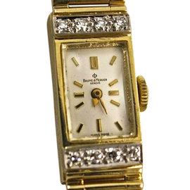 Baume & Mercier 14k Yellow Gold Watch With Diamonds