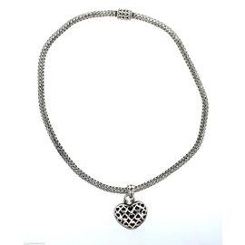 John Hardy Weave Heart Chain Necklace 925 Sterling Silver