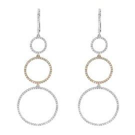 14K Multi-Tone Gold Diamond Drop Earrings