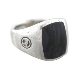 David Yurman Sterling Silver Blue Pietersite Signet Ring