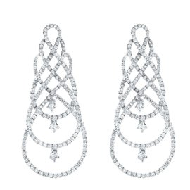 18K White Gold & Diamond Bypass Drop Earrings