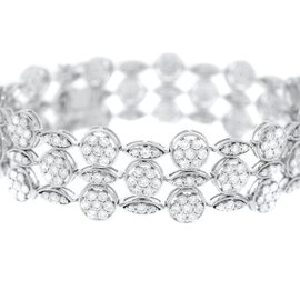 18K White Gold & Diamond 3-Strand Bracelet