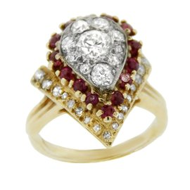 14K Yellow Gold Diamond and Ruby Pear Shaped Ring