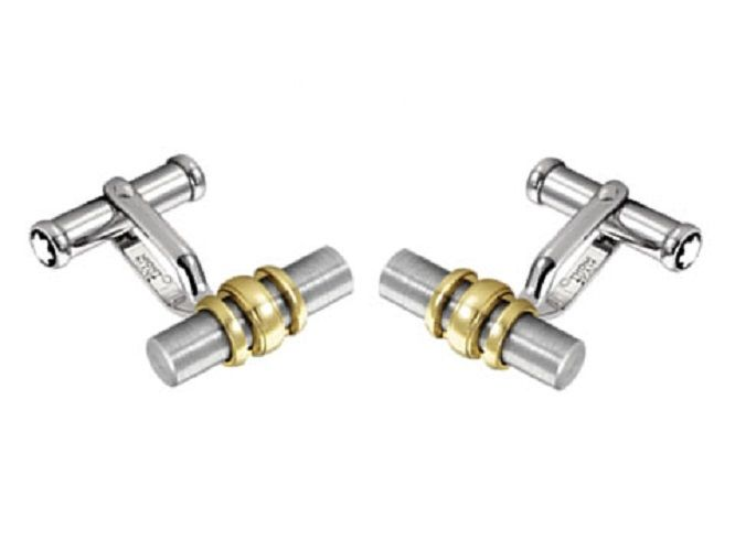 "Image of ""Montblanc 18K Yellow Gold Ring & Stainless Steel Cufflinks"""