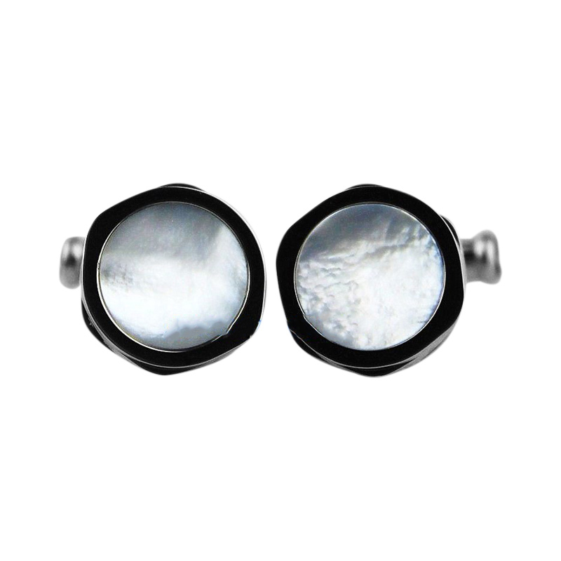 "Image of ""Montblanc 18K White Gold With Mother of Pearl Inlay Cufflinks"""