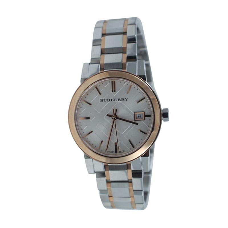 """Image of """"Burberry 13303 Large Check Two Tone Stainless Steel Bracelet Watch"""""""