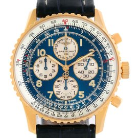 Breitling K33030 Navitimer Airborne 18K Yellow Gold Blue Dial Watch