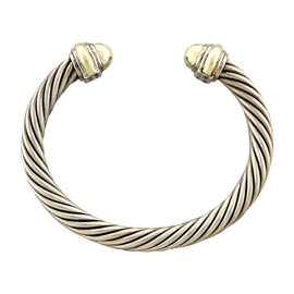 David Yurman Sterling Silver 14K Yellow Gold Cable Cuff Bracelet