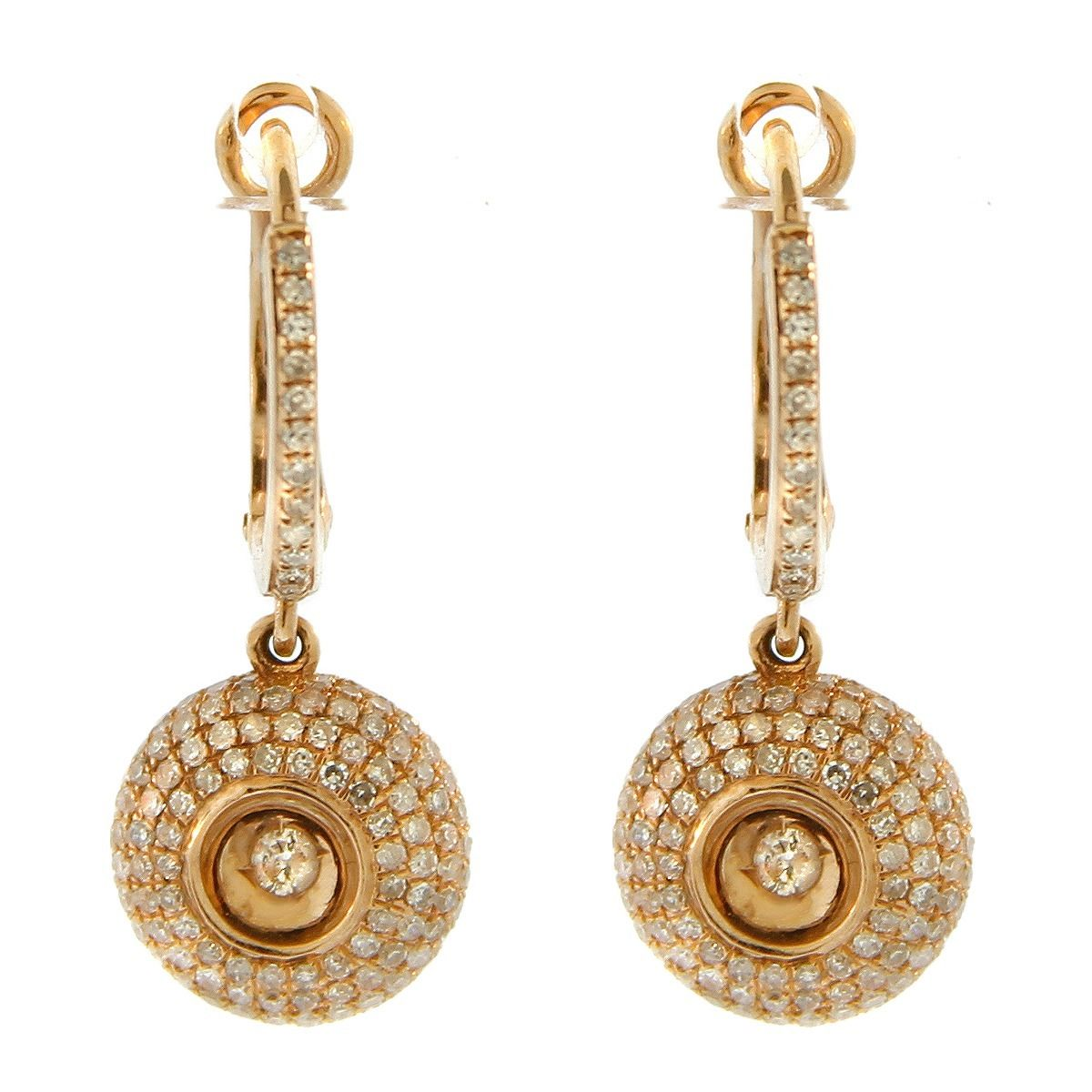 "Image of ""14K Rose Gold Centered Diamond Drop Round Earrings"""