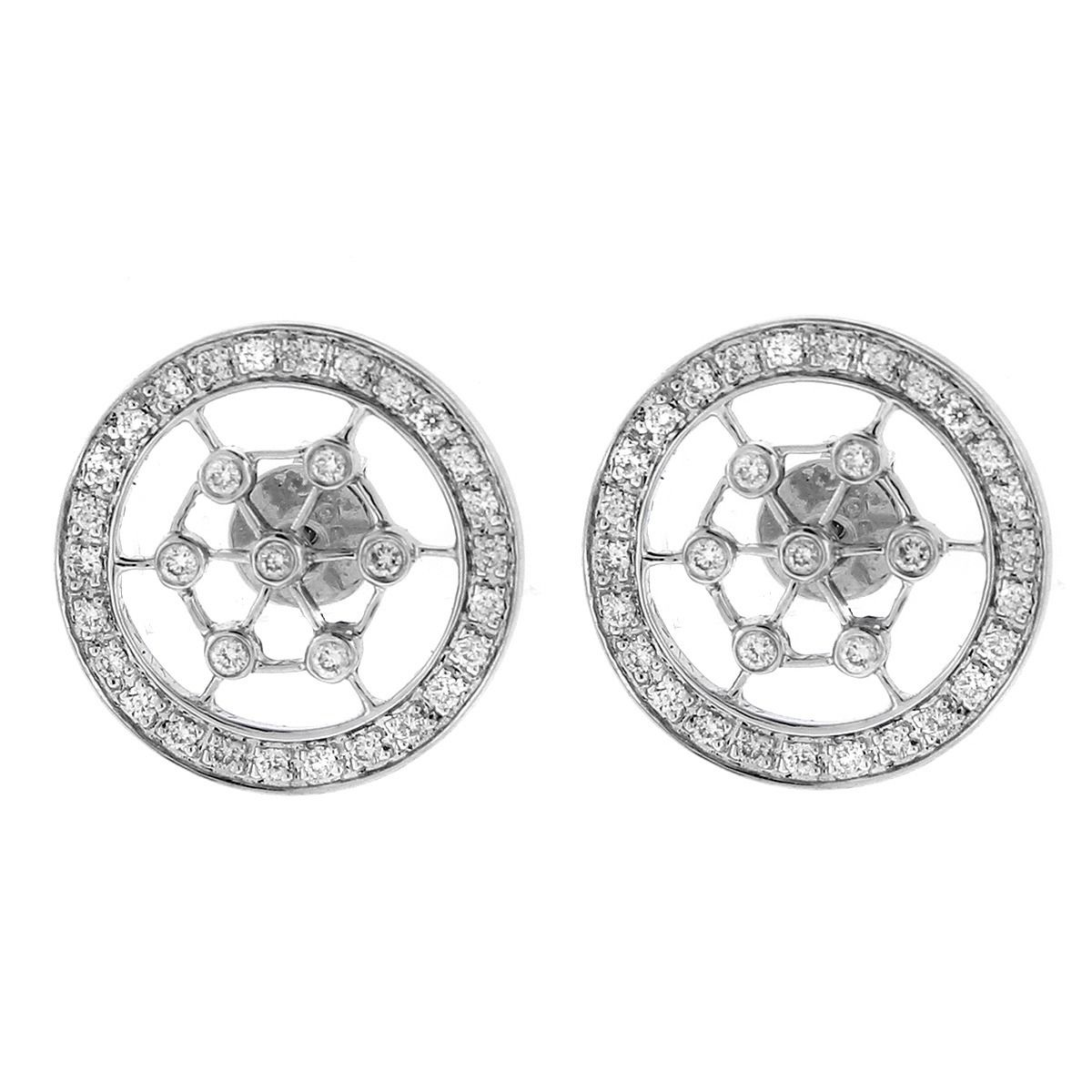 """Image of """"18k White Gold And Diamond Round Earrings"""""""