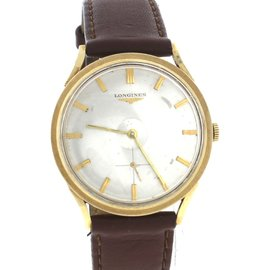 Vintage Longines 14K Yellow Gold Grey Stick Dial Brown Leather 33mm Watch