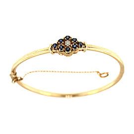 14k Yellow Gold Sapphire Diamond Bangle Bracelet