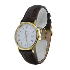 Omega Quartz Date 18K Gold Bezel White Roman Dial Watch