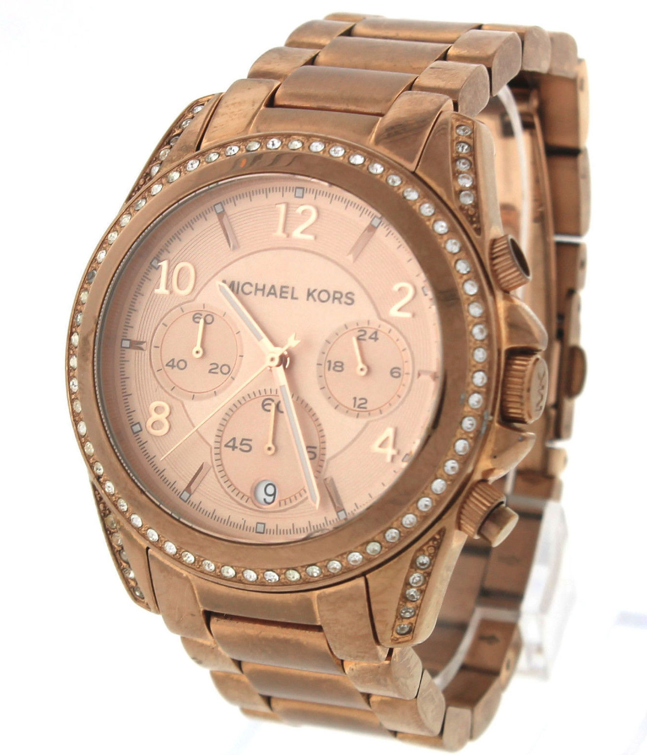 "Image of ""Michael Kors Blair Pink Rose Gold-Tone Chronograph Quartz Watch"""
