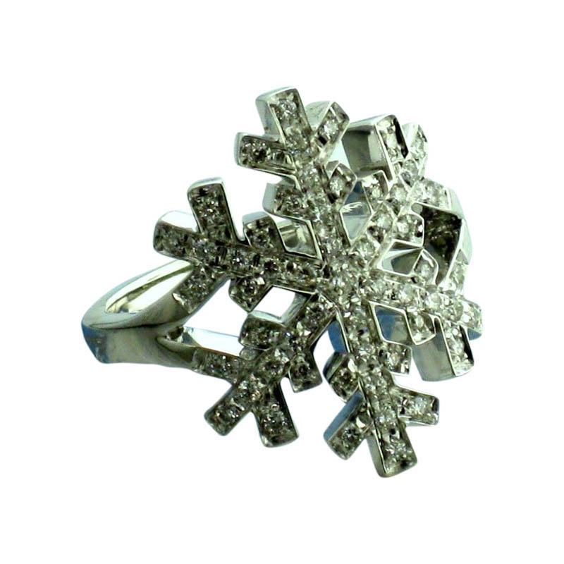 "Image of ""Salvini 18 kt White Gold Snowflake with Diamonds Ring"""