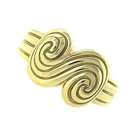 Tiffany & Co. 18K 750 Yellow Gold Spiro Fluted Swirl Scroll Ring