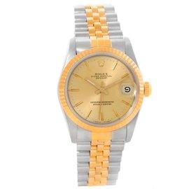 Rolex Datejust 68273 Midsize Steel 18K Yellow Gold Womens Watch
