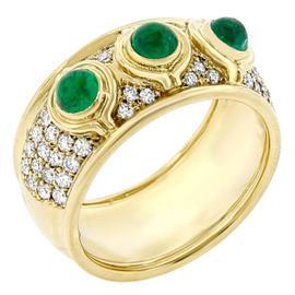 Chopard 18k Yellow Gold Diamond And Emerald Ring