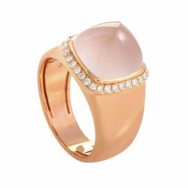 Fred Of Paris 18K Rose Gold Pink Quartz Ring