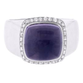Fred Of Paris 18K White Gold Amethyst And Diamond Ring