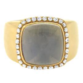 Fred Of Paris 18K Yellow Gold White Quartz And Diamond Ring