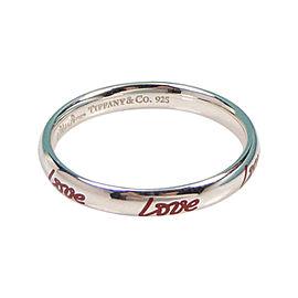 Tiffany & Co. Picasso Graffiti Love Band Silver & Red Enamel Ring