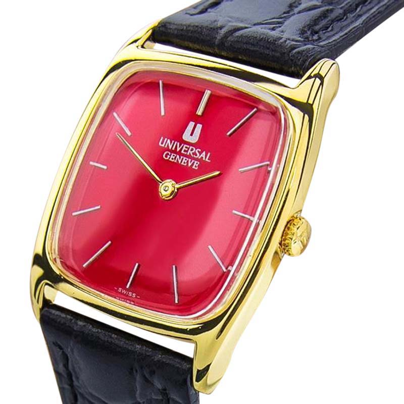 "Image of ""Universal Geneve J82 Gold Plated and Leather 35mm Watch"""