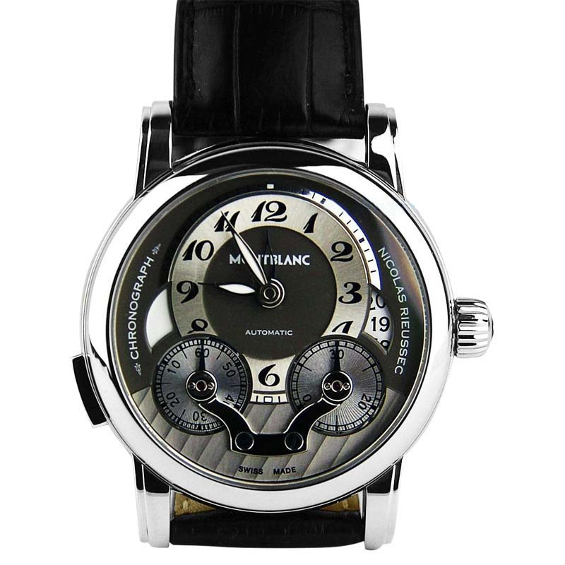 "Image of ""Montblanc Nicolas Rieussec Stainless Steel & Leather 43mm Watch"""