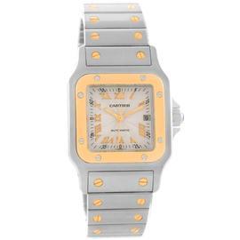 Cartier Santos W20058C4 Galbee Steel Yellow Gold Guilloche Dial Mens Watch