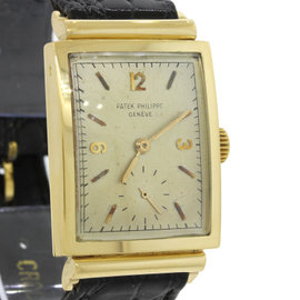 Patek Philippe 18K Solid Yellow Gold Black Leather Dress Watch