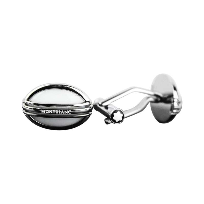 "Image of ""Montblanc Meisterstuck Stainless Steel White Agate Cufflinks"""
