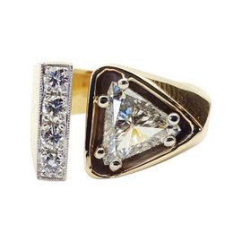 14K Gold Two Tone 1.27ct of Trillion Cut Diamond Ring
