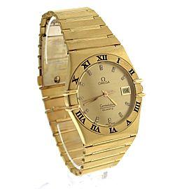 Omega Constellation Diamond Roman 18K Yellow Gold Quartz Unisex 32mm Watch