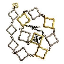 David Yurman Yellow Gold Sterling Silver Quatrefoil Ankle Anklet Toggle Bracelet