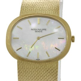 Patek Philippe Ellipse 3583 18K Yellow Gold Mother Of Pearl Dial Manual Womens 34mm Watch
