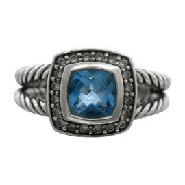 David Yurman Albion Aquamarine Diamond 925 Sterling Silver Cable Ring