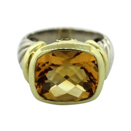 David Yurman 14K Yellow Gold Sterling Silver Citrine Cable Ring Sz 7