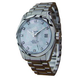 Omega Seamaster Aqua Terra Stainless Steel Mother of Pearl Diamond Dial Co Axial Chronometer Watch