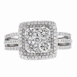 14K White Gold & 1.43ct Diamond Engagement Ring Sz 7