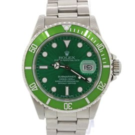 Rolex Submariner Date Green Hulk 16610 Stainless Steel Dive Diver 40mm Watch