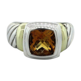 David Yurman Classic 14K Yellow Gold & Sterling Silver Citrine Cable Ring