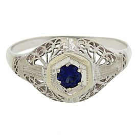 14K White Gold .10ct Sapphire Engagement Ring
