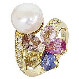 Bulgari 18K Yellow Gold Pearl & Diamonds / Multi Stone Ring Size 6
