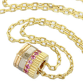 Boucheron 18K White, Yellow & Rose Gold With Pink Sapphire Necklace Pendant